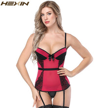Load image into Gallery viewer, Sexy Bustier Corset Sexy Overbust Lace Up Lingerie Adjustable Shoulder Strap