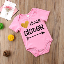 Load image into Gallery viewer, New Little Sister Baby Girls Romper Big Sister T-shirt Tops Tee Matching Outfits