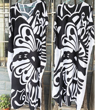 Load image into Gallery viewer, Plus size Cotton Print Black Bohemian Dress Robe Summer Long Maxi Beach Dress Vestidos Largos Ladies Holiday Sun Dress
