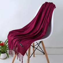Load image into Gallery viewer, Female Canada Wool Cashmere Scarf Pashmina Tassels Women Wrap Warm Scarf