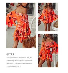 Off Shoulder Flare Sleeve Sexy Casual Playsuit Boho Women Palysuit Winter Floral Beach Autumn Short Jumpsuit Romper