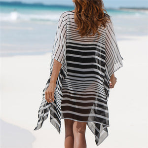 Plus size Chiffon Bohemian Sexy Beach Dress Strip Tunic for Beach Women Summer Holiday Loose Casual Dress