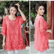 Load image into Gallery viewer, Summer Blouses and Tops for Women Embroidery Beads Vintage Ladies Blouse Plus Size XL~4XL A-line Loose Woman Tunic Tops