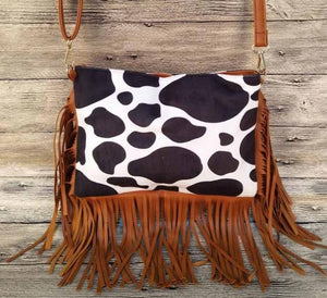 Cow Suede Fringe Bag Cowhide Crossbody Bag Women Clutch Bag (cow)