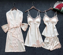 Load image into Gallery viewer, 4 Pieces Women Pajamas Sets Satin Sleepwear Spaghetti Strap with Chest Pads