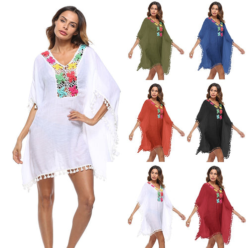 Women Sexy Tassel See-Through Lace Hollow Out Crochet Tunic Cover Ups Swimwear Summer Bikini Cover Up Beach Dress