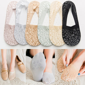 1 Pair Women Girls Summer Fashion Style Lace Flower Short Sock Antiskid Invisible Ankle Socks Sox Summer Cotton Lace Low