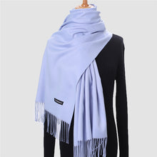 Load image into Gallery viewer, Women Winter Scarf Pure Cashmere Scarves Thick Neck Warm Headband Hijab Lady shawls Wraps Blanket Pashmina Female