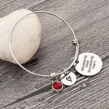 Load image into Gallery viewer, Best Friend Birthday Gift Birthstone Charm Bracelet for Women Stainless Steel Friendship Bangle Bracelet with Quote Sister