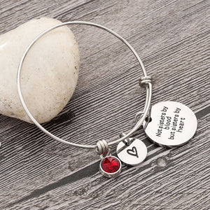 Best Friend Birthday Gift Birthstone Charm Bracelet for Women Stainless Steel Friendship Bangle Bracelet with Quote Sister