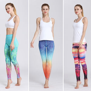 Fast Dry Women Yoga Pants Workout Print Gym Leggings Running Fitness Training Elastic Sexy Long Tights Trousers for Dancing