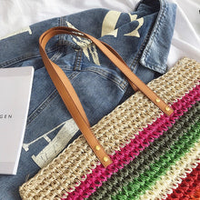 Load image into Gallery viewer, Women luxury straw handbag famous designer ladies wicker shoulder hand bag beach woven girl crossbody bags sac main femme