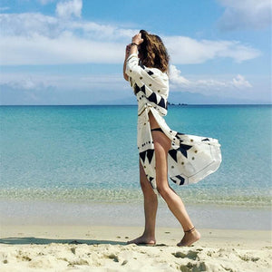 Swimsuit Cover Up Women Pareo Beach Dress Wears Print Loose Long Dress Beach Cardigan Bathing Suit Beach Cover Ups