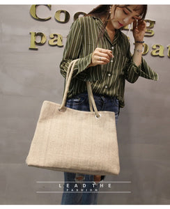 Fashion Women Linen Handbag Large Shopping Tote Holiday Big Basket Bags Summer Beach Bag Woven Beach Shoulder Bag