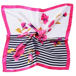 Summer New Fashion Elegant Women Square Silk Feel Satin Scarf Hair Tie Band Skinny Retro Head Neck Small Vintage for Women Girl