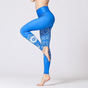 Vintage Fitness Yoga Pants Slim High waist Sport Leggings Gym Girls Elastic Printed Tights for Running Jogging Tummy Control