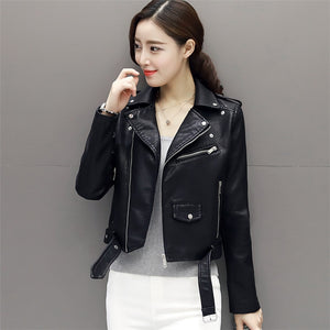 Autumn New Short Faux Soft Leather Jacket Women Fashion Zipper Motorcycle PU Leather Jacket Ladies Basic Street Coat
