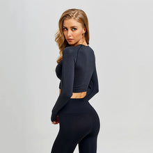 Load image into Gallery viewer, Women Seamless Yoga Set Gym Clothing Fitness Leggings+Cropped Shirts Sport Suit Women Long Sleeve Tracksuit Active Wear