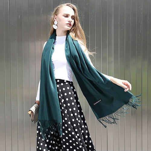 Winter Cashmere Women Scarf Female Luxury Brand Scarves Lady Tassel Bandana Women Solid Shawl Wraps Foulard Tippet