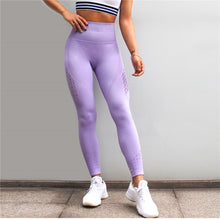 Load image into Gallery viewer, New Dry Fit Gym Tights Energy Seamless Tummy Control Yoga Pants High Waist Sport Leggings Purple Running Pants Women