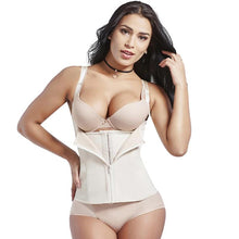 Load image into Gallery viewer, Plus Size Neoprene Body Shaper Waist Trainer Zipper Cincher Underbust Sauna Sweat Slimming Hooks Lose Weight Shapewear
