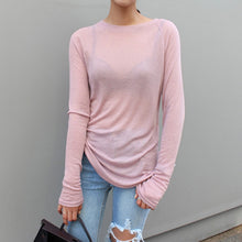 Load image into Gallery viewer, Sexy Women Long Sleeve O-neck Slim Fit Warm Spring Summer T-shirts Korean Black White Blue Pink