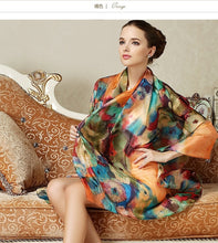 Load image into Gallery viewer, Women Long Silk Scarf Shawl Spring Autumn Scarves Printed Summer 100% Genuine Beach Cover-ups