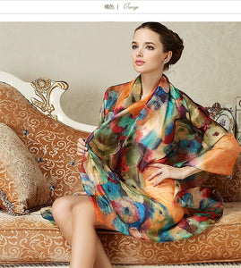 Women Long Silk Scarf Shawl Spring Autumn Scarves Printed Summer 100% Genuine Beach Cover-ups