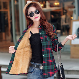 New Winter Warm Women Velvet Thicker Jacket Plaid Shirt Style Coat Female College Style Casual Jacket Outerwear