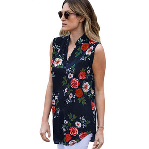 Summer Chiffon Women Blouses Vintage Floral Print V Neck Sleeveless Tunic Casual Loose Tops