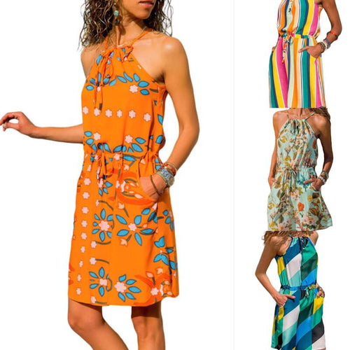 Beach dress boho floral plus size bandage bohemian casual mini chiffon vestido  summer short flower chic sun ladies dresses