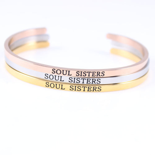 New Stainless Steel Open Cuff Bracelet Hand imprint SOUL SISTERS Bracelet Bangle Engraved Words Bracelet Bangle Jewelry