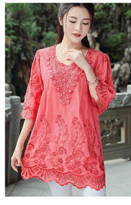Summer Blouses and Tops for Women Embroidery Beads Vintage Ladies Blouse Plus Size XL~4XL A-line Loose Woman Tunic Tops
