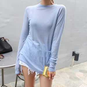 Sexy Women Long Sleeve T-shirt O-neck Slim Fit Warm Spring Summer Basic T-shirts Korean Women Tops Black White Blue Pink