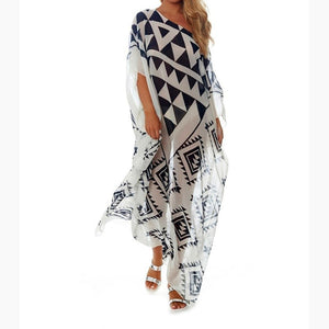 Plus Size Chiffon Long Beach Dress Beach Boho Sexy Women Dress Robe