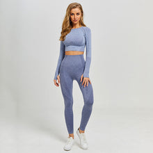 Load image into Gallery viewer, Women Yoga Set Gym Leggings+Cropped Shirts Long Sleeve ActiveWear