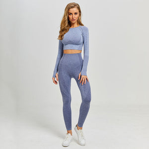 Women Yoga Set Gym Leggings+Cropped Shirts Long Sleeve ActiveWear