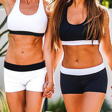 Load image into Gallery viewer, Summer Women Sport Suits Sexy Crop Tops+Shorts Tracksuit Two Piece Set Gym Running Joggings Yoga Exercise Clothes Quick Dry