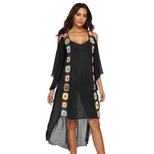 Load image into Gallery viewer, Large Size Robe Beach Dress Long Cover Up Women White Bathing Suit Maxi Wear Crochet Flower