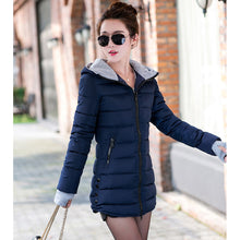 Load image into Gallery viewer, Women winter hooded warm coat plus size candy color cotton padded jacket female long parka womens wadded jaqueta feminina