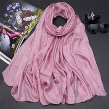 Load image into Gallery viewer, 190*80cm Pearl Solid Linen Silk Scarf Shawl Autumn Winter Scarf Women Beautiful Scarves
