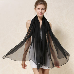 Women 100% Natural Silk Shawl Female Wraps Solid Color Plus Size Long Beach Cover-ups