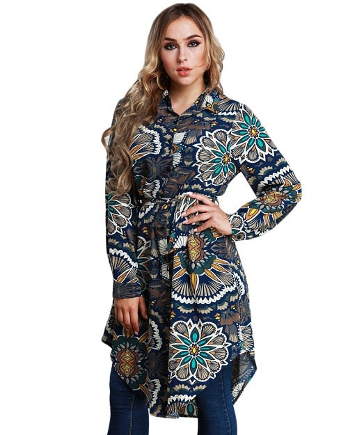 Large Size Tunics Blouse Women Floral Print Shirts Spring Long Sleeve Asymmetric Plus Size Tops