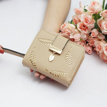 Load image into Gallery viewer, New Women Wallets Short Wallet Ladies Zipper Buckle Hollow Leaf Purse Wallet Female Women Zipper Purse Card Holder