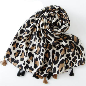 Fashion Women Wild Leopard print scarf shawls and wraps female Cotton Long  Cape Shawl Scarves