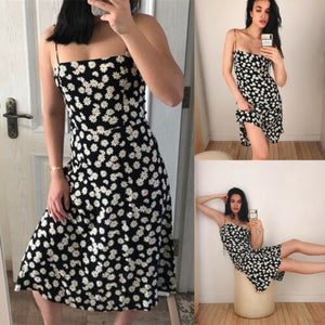 New Sexy  Women Ladies Summer Floral Beach Midi Dress Holiday Strappy Button Fashion Sun Dresses