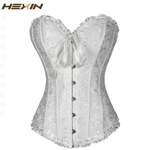 Sexy Women Corset Brocade Floral Bustier Top Lace Up Back Lingerie Body Shaper