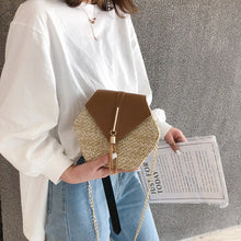 Load image into Gallery viewer, Hexagon Style Straw leather Handbag Women Summer Rattan Bag Handmade Woven Beach Circle Bohemia Shoulder Bag New Fashion