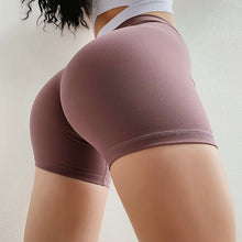 Load image into Gallery viewer, Slim Fit High Waist Yoga Sport Shorts Hip Push Up Women Plain Soft Nylon Tummy Control Workout