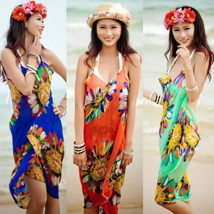 Women Beach Dress Sexy Sling Beach Wear Dress Sarong Bikini Cover-ups Wrap Pareo Skirts Towel Open-Back Swimwear